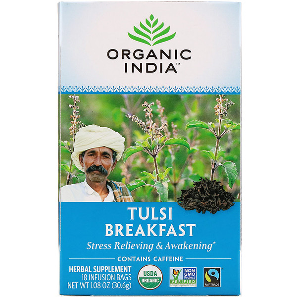 Organic India, Tulsi Breakfast, 18 Infusion Bags, 1.08 oz (30.6 g)