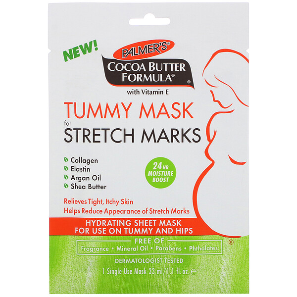 Cocoa Butter Formula,Tummy Mask for Stretch Marks,一次性面膜,1.1 盎司(33 毫升)