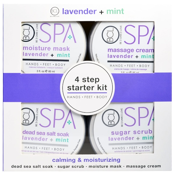 Petal Fresh, Spa, 4 Step Starter Kit, Calming & Moisturizing, Lavender + Mint, 4 - 3 fl oz (85 ml) Each