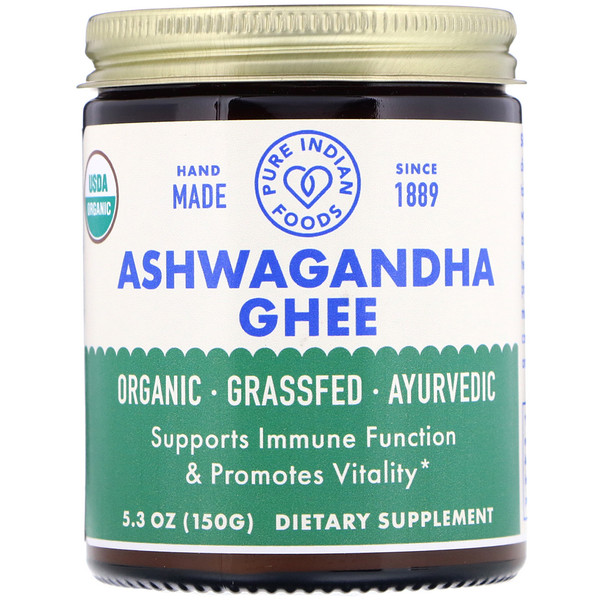 Pure Indian Foods, Organic Ashwagandha Ghee, 5.3 oz (150 g) (Discontinued Item)