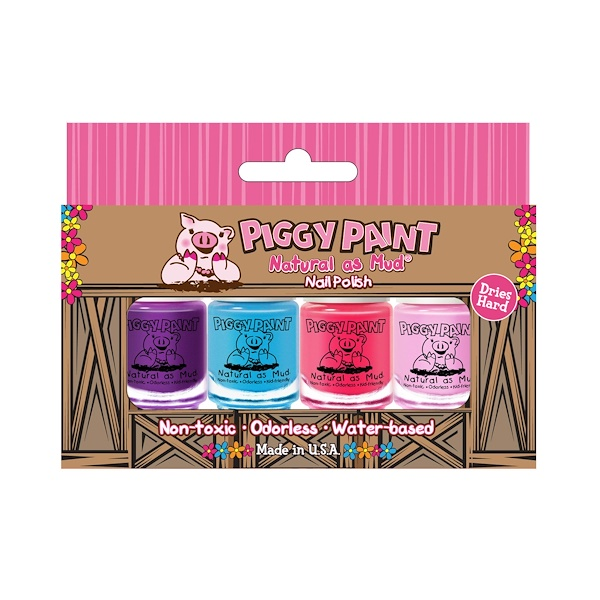 Piggy Paint, 自然如泥,指甲油,4件套,(3.5毫升)每个 (Discontinued Item)