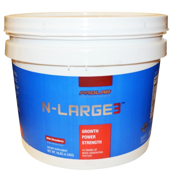 ProLab, N-Large3, Mass-Generating Protein, Wild Strawberry, 10 lbs (4.53 kg) (Discontinued Item)