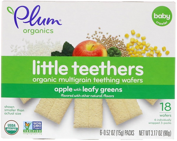 Little Yums, Organic Teething Wafers, Spinach, Apple & Kale, 6x0.5oz