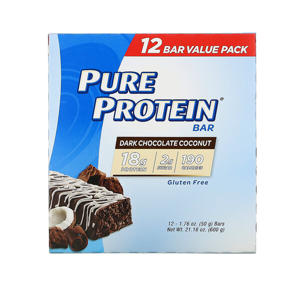 Pure Protein, Pure Protein Bar, Dark Chocolate Coconut, 12 Bars, 1.76 oz (50 g) Each