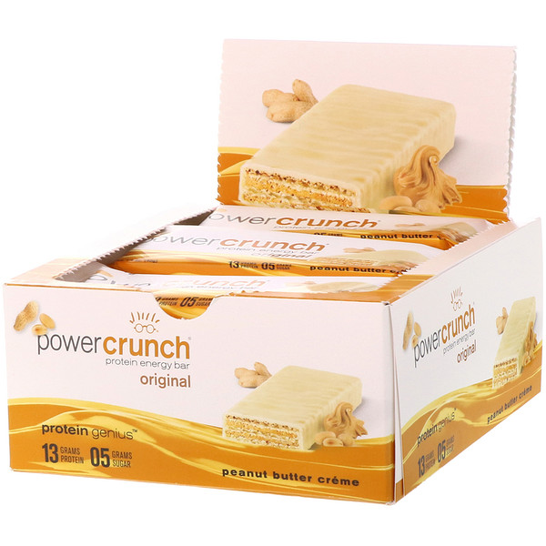 BNRG, Power Crunch Protein Energy Bar, Original, Peanut Butter Creme, 12 Bars, 1.4 oz (40 g) Each