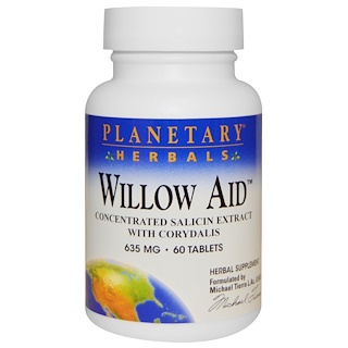 Planetary Herbals, Willow Aid,635毫克,60片