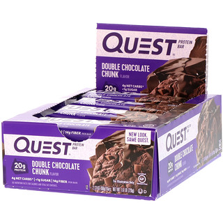 Quest Nutrition, QuestBar, Protein Bar, Double Chocolate Chunk, 12 Bars, 2.12 oz (60 g) Each