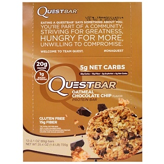 Quest Nutrition, QuestBar,蛋白棒,燕麦巧克力片,12条,2.1盎司(60克)