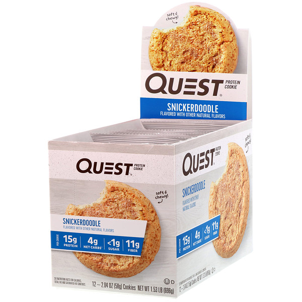 Quest Nutrition, Protein Cookie, Snickerdoodle, 12 Cookies, 2.04 oz (58 g) Each (Discontinued Item)