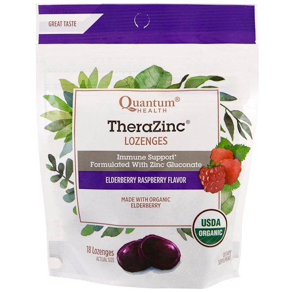 Quantum Health, TheraZinc,含片,接骨木果和覆盆子味,18片