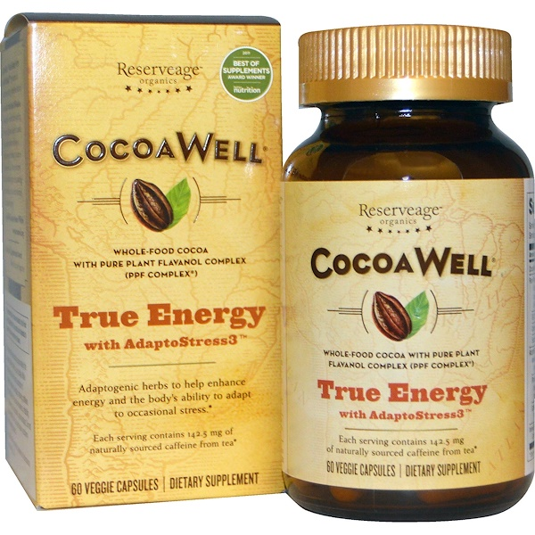 ReserveAge Nutrition, CocoaWell, True Energy with AdaptoStress3, 60 Veggie Caps (Discontinued Item)