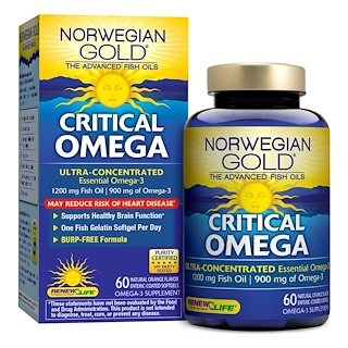 Renew Life, Critical Omega, Ultra-Concentrated, Natural Orange Flavor, 60 Enteric-Coated Softgels