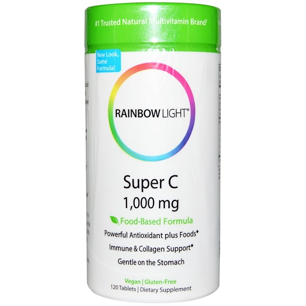 Rainbow Light, Super C, 1,000 毫克, 120 片