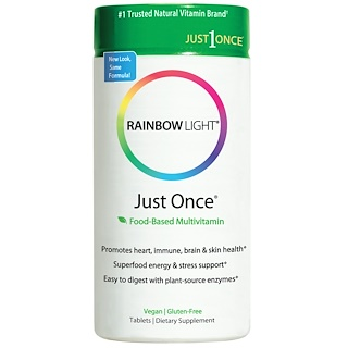 Rainbow Light, Just Once,基于食物的多种维生素,120 片