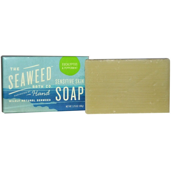 Seaweed Bath Co., Wildly Natural Seaweed Sensitive Skin Soap, Eucalyptus & Peppermint, 2 oz (57 g) (Discontinued Item)