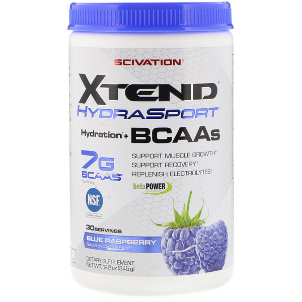 Scivation, Xtend HydraSport,补水+支链氨基酸,蓝莓,12.2盎司(345克) (Discontinued Item)