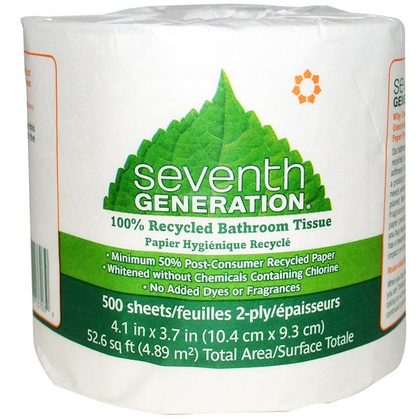 Seventh Generation, 100% Recycled Bathroom Tissue, 500 Sheets, 2 Ply, 1 Roll (Discontinued Item)