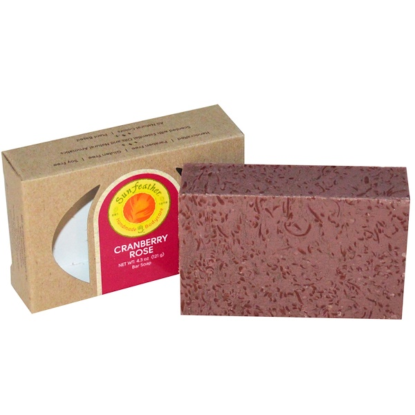 Sunfeather Soaps, Cranberry Rose Bar Soap, 4.3 oz (121 g) (Discontinued Item)