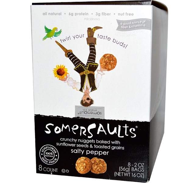 Somersaults, Sunflower Seed Snack, Salty Pepper, 8 Bags, 2 oz (56 g) Each (Discontinued Item)