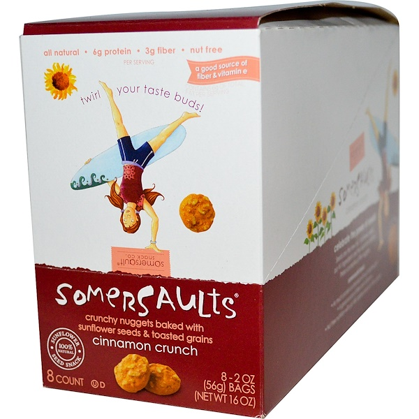 Somersaults, Sunflower Seed Snack, Cinnamon Crunch, 8 Bags, 2 oz (56 g) Each (Discontinued Item)