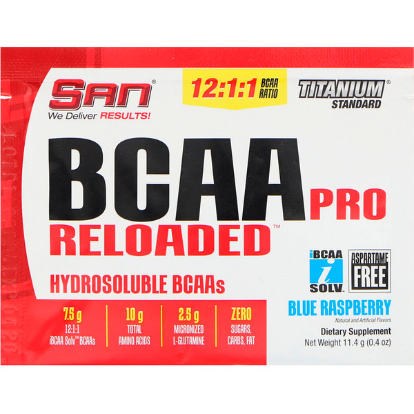 SAN Nutrition, BCAA Pro Reloaded, Hydrosoluble BCAAs, Blue Raspberry, 0.4 oz (11.4 g) (Discontinued Item)