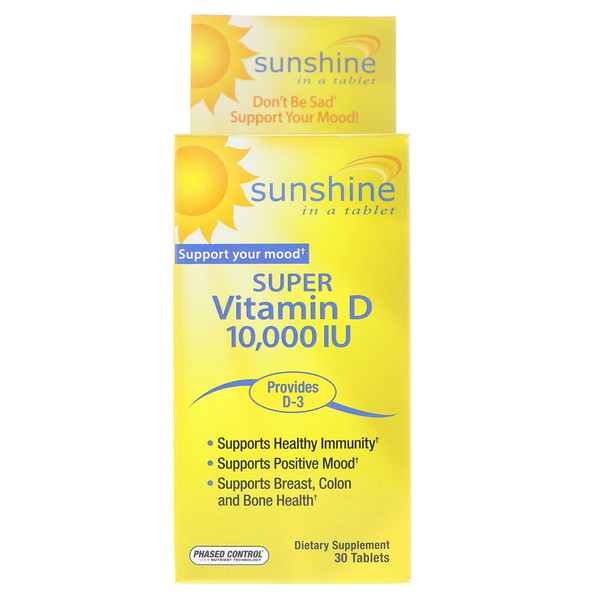 Sunshine, Super Vitamin D, 10,000 IU, 30 Tablets (Discontinued Item)