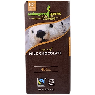 Endangered Species Chocolate, 天然牛奶巧克力,3盎司(85克)
