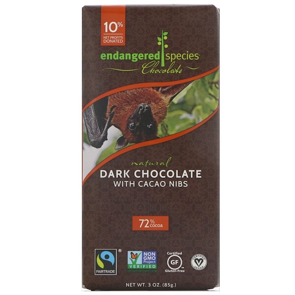 Endangered Species Chocolate, 天然黑巧克力,含可可豆粒,3 盎司(85 克)