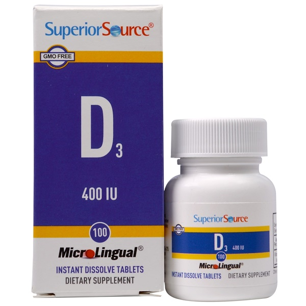 Superior Source, MicroLingual,维生素 D3,400 国际单位,100 片
