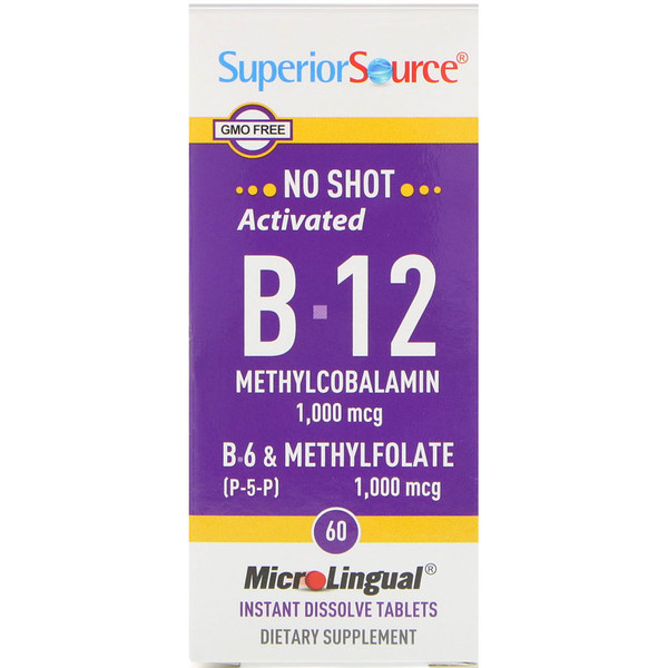 Superior Source, Activated B-12 Methylcobalamin, B-6 (P-5-P) & Methylfolate, 1,000 mcg/1,000 mcg, 60 Tablets