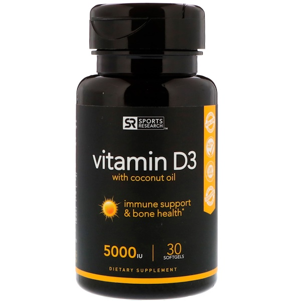 Sports Research, Vitamin D3 with Coconut Oil, 5,000 IU, 30 Softgels