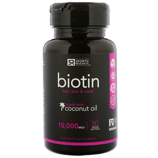 Sports Research, Biotin 10,000 mcg with Organic Coconut Oil, 30 Veggie Softgels