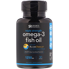 Sports Research, Omega-3 Fish Oil, Triple Strength, Triglyceride Form, 1250 mg, 30 Softgels