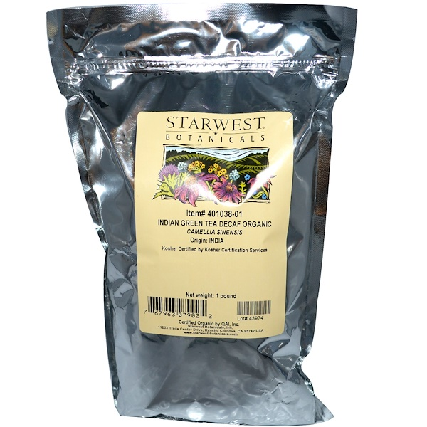 Starwest Botanicals, Organic Indian Green Tea, Decaf, 1 lb  (Discontinued Item)