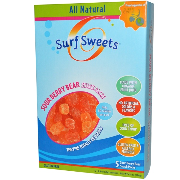 SurfSweets, Sour Berry Bear Snack Packs, 5 Pouches, 0.9 oz (25 g) Each (Discontinued Item)