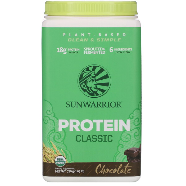 Sunwarrior, Plant-Based Protein Classic, Chocolate, 1.65 lb (750 g) (Discontinued Item)