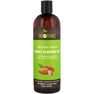 Sky Organics, Sweet Almond Oil, 100% Pure Organic, 16 fl oz (473 ml)