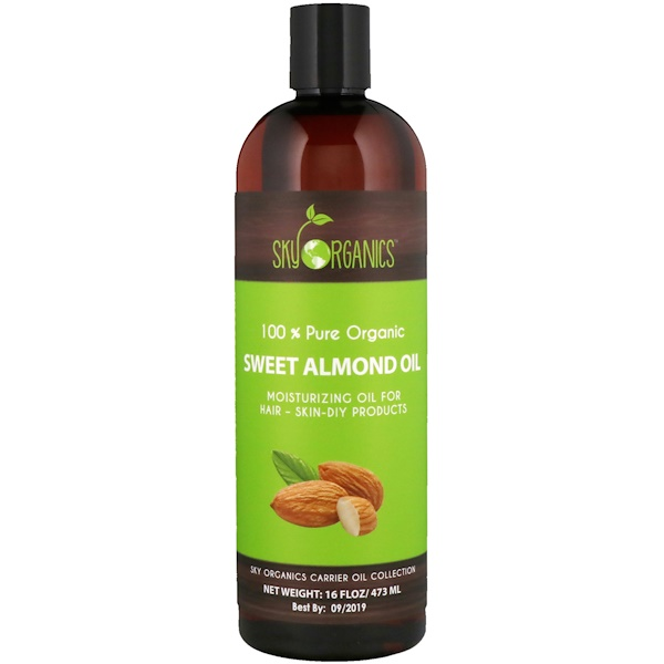 Sweet Almond Oil, 全 Pure Organic, 16 fl oz (473 ml)
