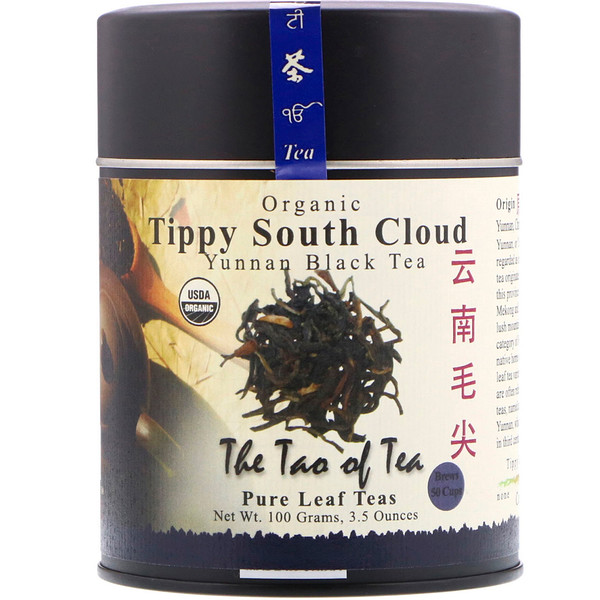 The Tao of Tea, Organic Yunnan Black Tea, Tippy South Cloud, 3.5 oz (100 g)