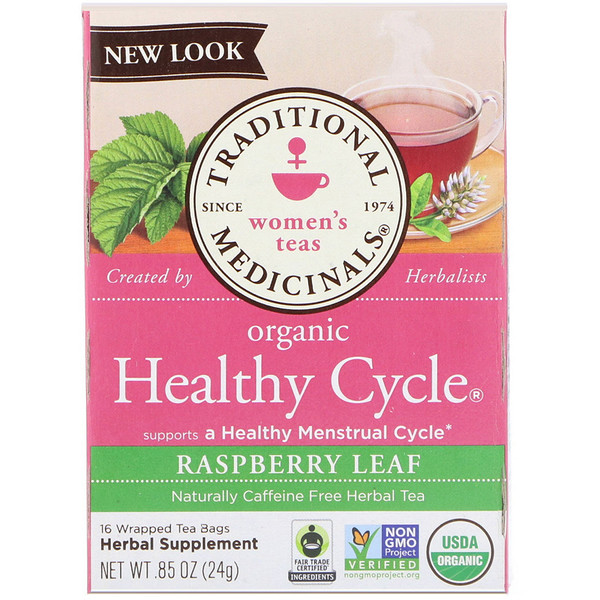 Traditional Medicinals, Women's Teas, Organic Healthy Cycle, Caffeine Free Herbal Tea, 16 Wrapped Tea Bags, .85 oz (24 g)