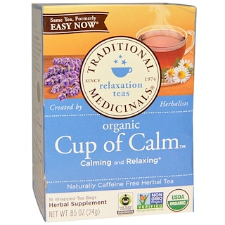 Traditional Medicinals, Herbal Tea, Organic Easy Now, Caffeine Free, 16 Wrapped Tea Bags, 0.85 oz (24 g)