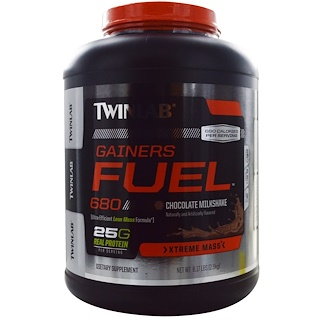 Twinlab, Gainers Fuel 680,巧克力奶昔,6.17磅(2.8千克)