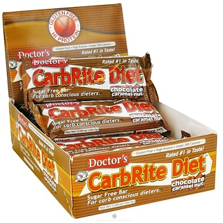 Universal Nutrition, Doctor's CarbRite Diet, 巧克力焦糖坚果,12条,2盎司(56.7克)/条
