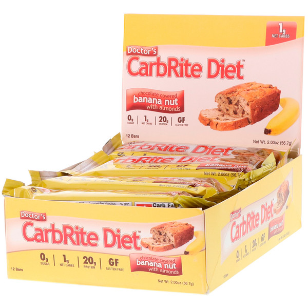 Doctor's CarbRite Diet Bars 代餐棒,巧克力裹香蕉坚果和杏仁,12 根,每根 2 盎司(56.7 克)
