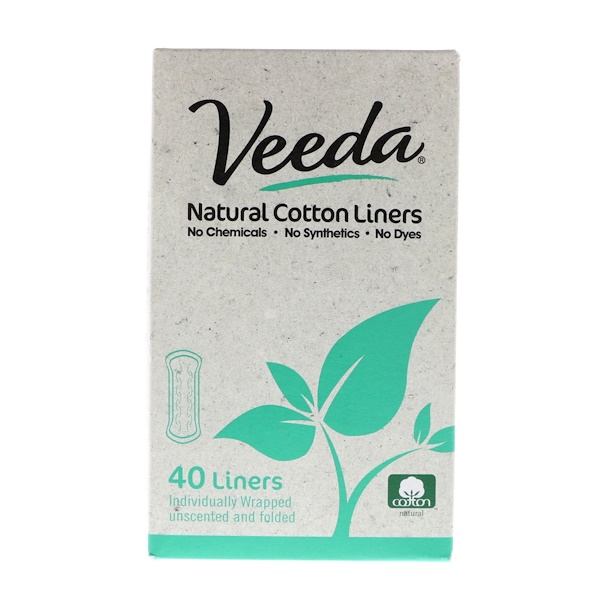 Veeda, Natural Cotton Liners, Unscented, 40 Liners (Discontinued Item)