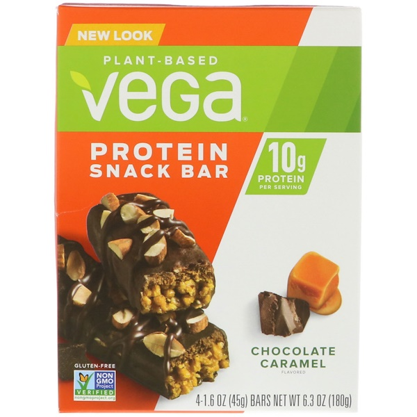 Vega, Protein Snack Bar, Chocolate Caramel, 4 Bars, 1.6 oz (45 g) Each (Discontinued Item)