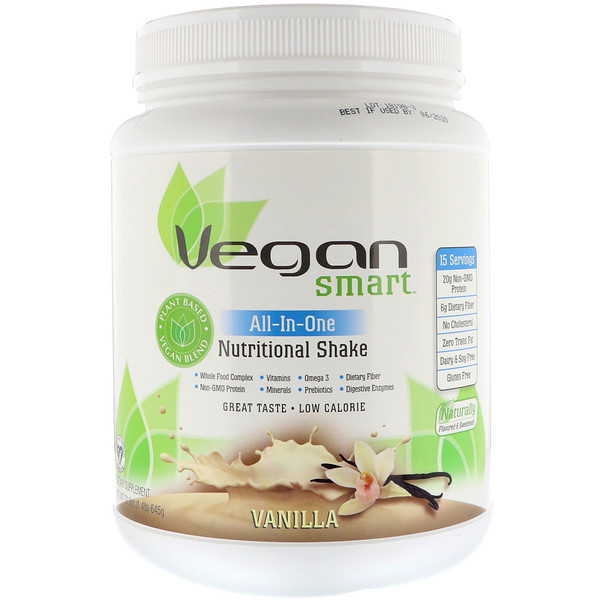 VeganSmart, All-In-One Nutritional Shake, Vanilla, 22.8 oz (645 g)