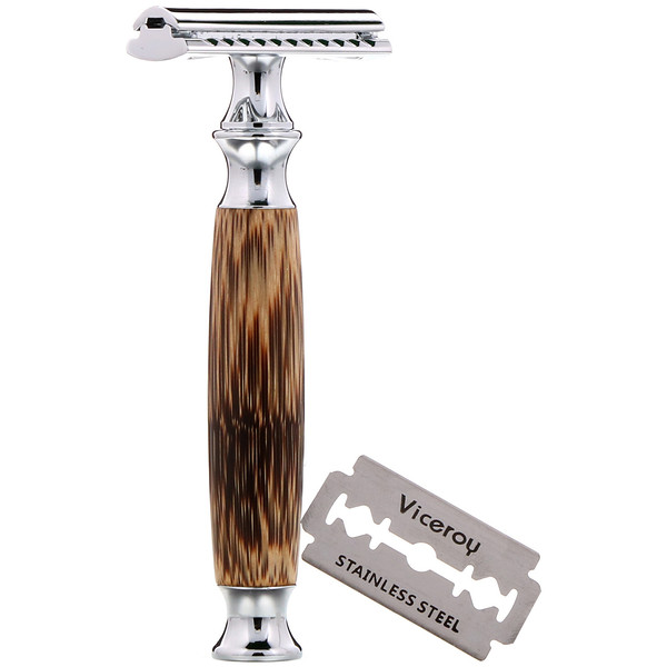 Wowe, Double Edge Safety Razor with Bamboo Handle, 1 Razor, 5 Blades