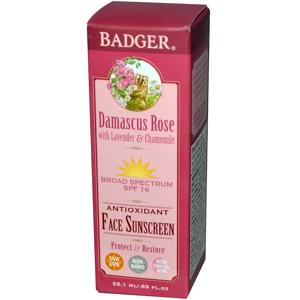 Badger Company, Antioxidant Face Sunscreen, SPF 16, Damascus Rose, .85 fl oz (25.1 ml) (Discontinued Item)