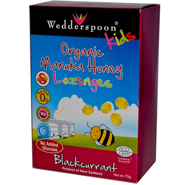 Wedderspoon, Kids Organic Manuka Honey Lozenges, Blackcurrant, 70 g (Discontinued Item)